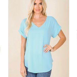 Baby Blue Relaxed Fit Chiffon Blouse